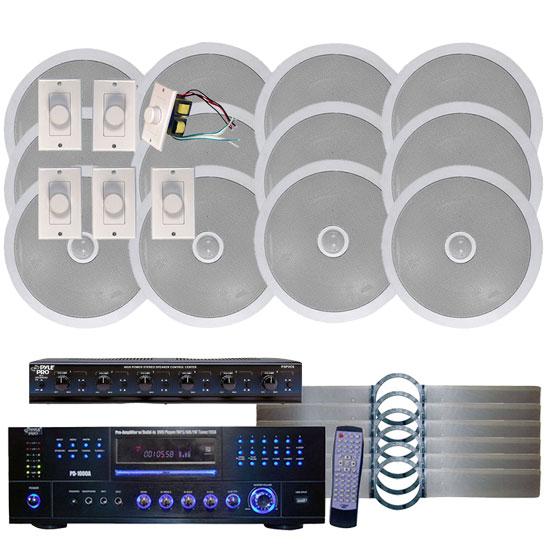 1000 Watt 6 Channel In Ceiling Speaker System With W Built