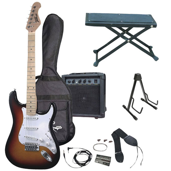 Fine Professional Full Size Electric 6 String Guitar Package W Amplifier Folding Guitar Stand Guitar Foot Stool Ktmupk04 Evergreenethics Interior Chair Design Evergreenethicsorg
